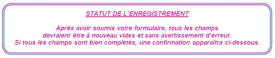 Registration status (FR)